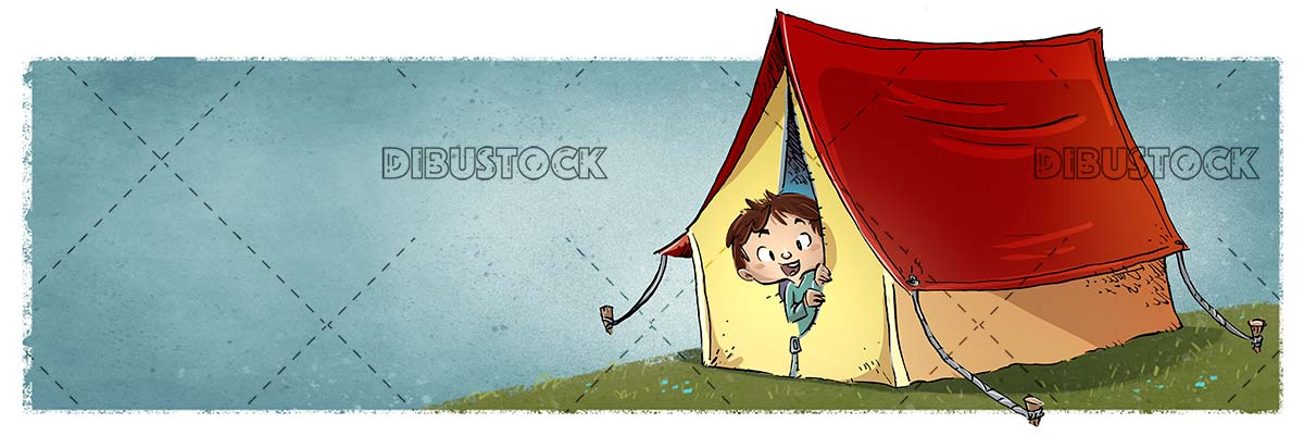 boy with tent camping in the countryside