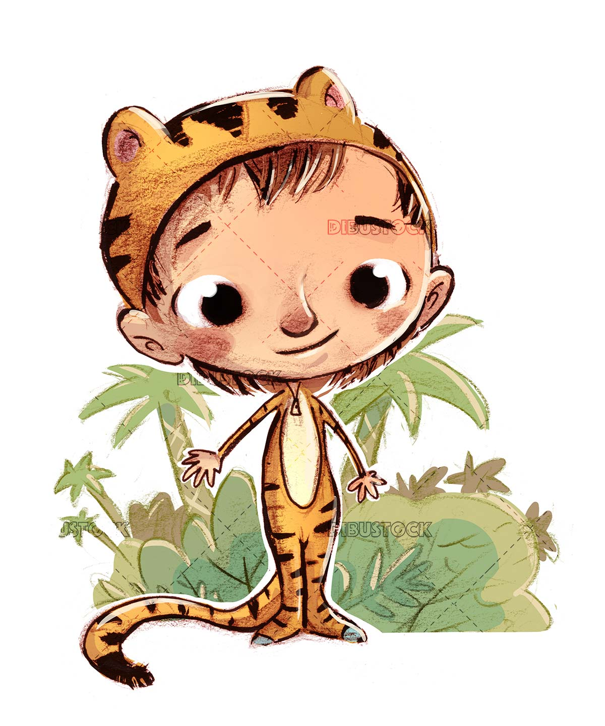 boy with tiger costume and jungle background