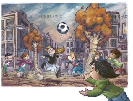 boys and girls playing soccer in the street