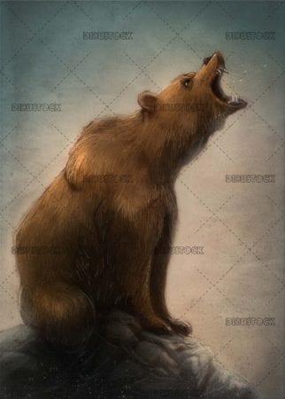 brown bear roaring on the rocks