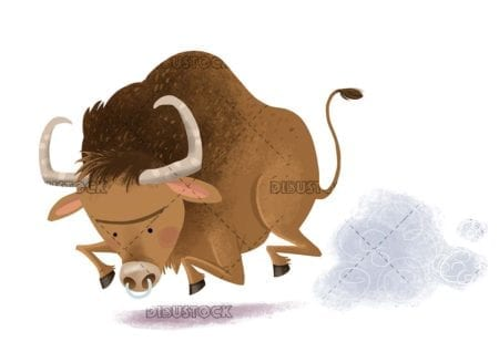 brown bull running angry