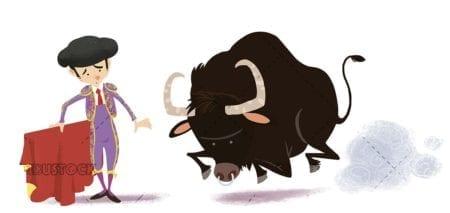 bullfighter with brave bull