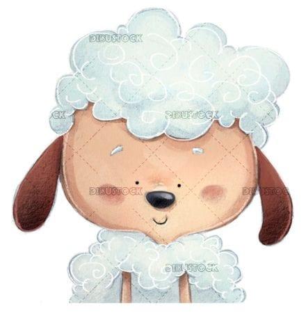 cara de oveja feliz sobre fondo aislado