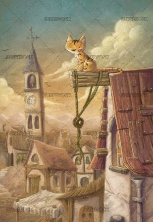 cat climbed on a roof with village in the background