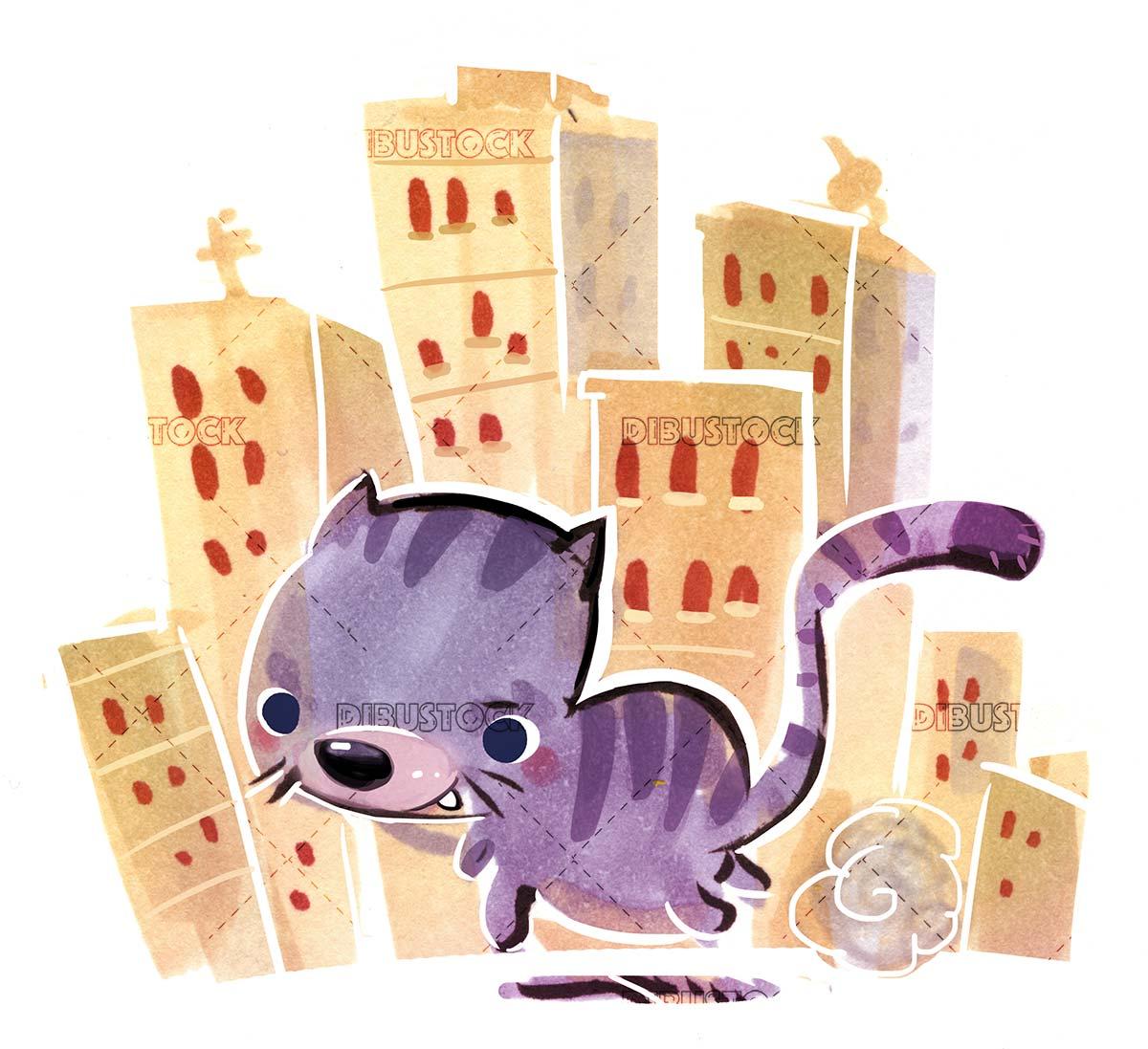 cat running through the city
