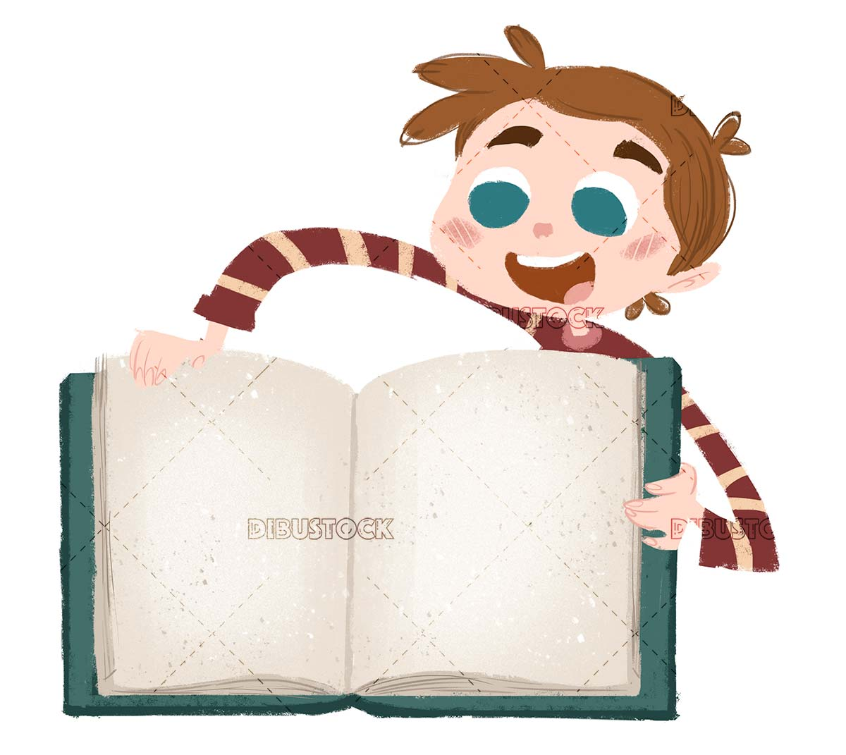 cheerful boy opening a book