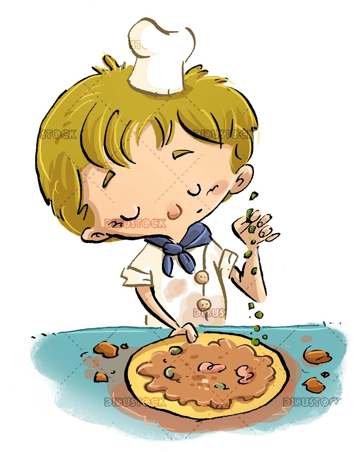 chef boy preparing a pizza