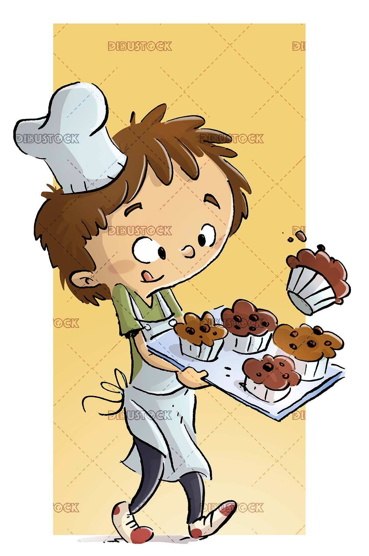 child cook with a tray of muffins