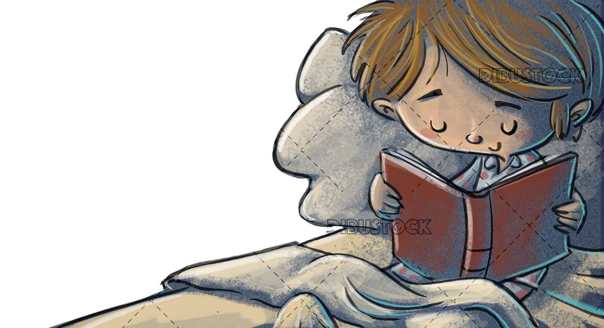child reading in bed quietly