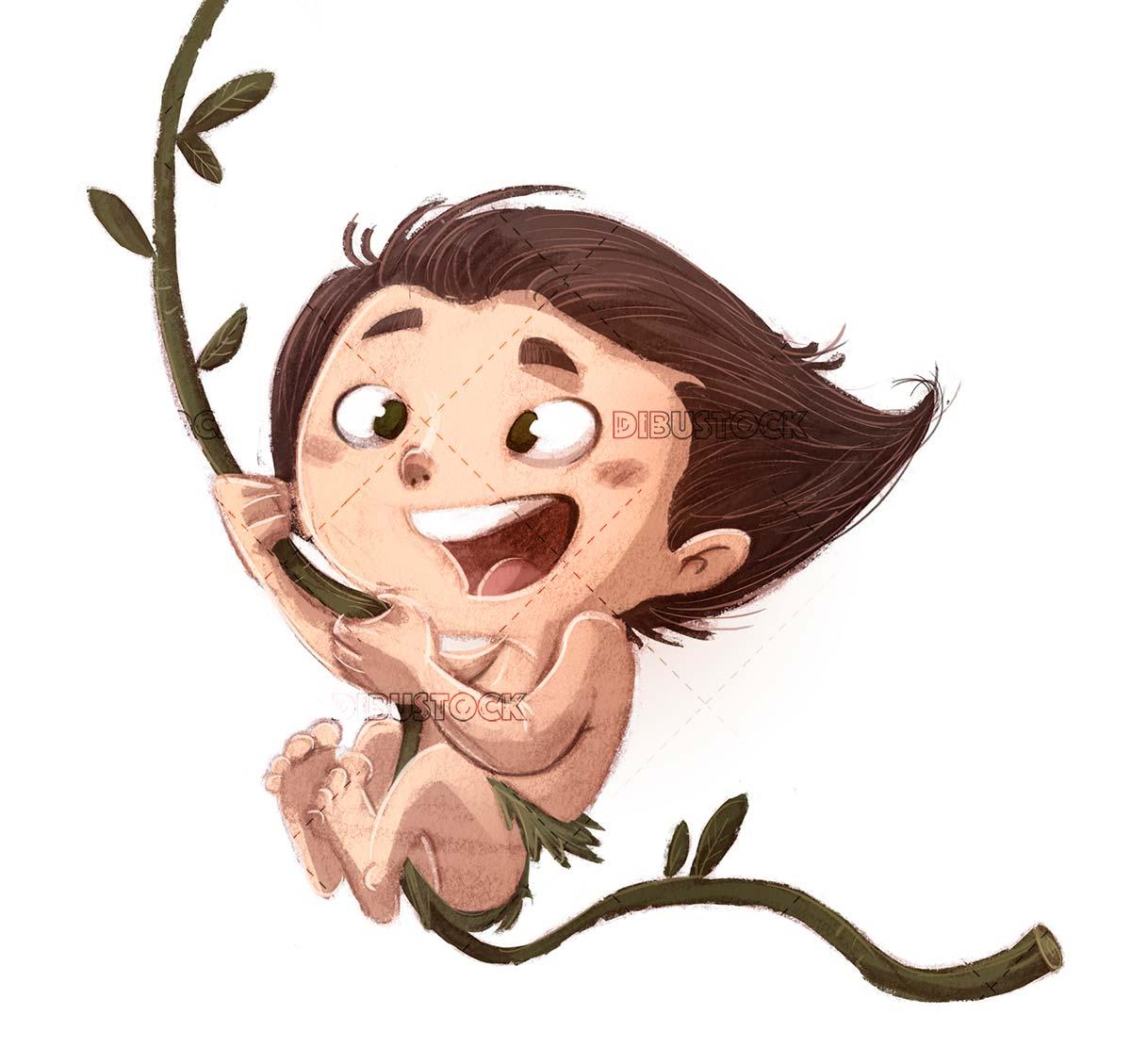 child tarzan with liana jumping