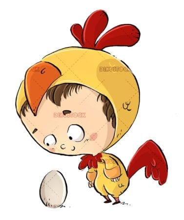 child with a chicken costume