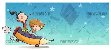 children mounted on a giant pencil with a background of school supplies