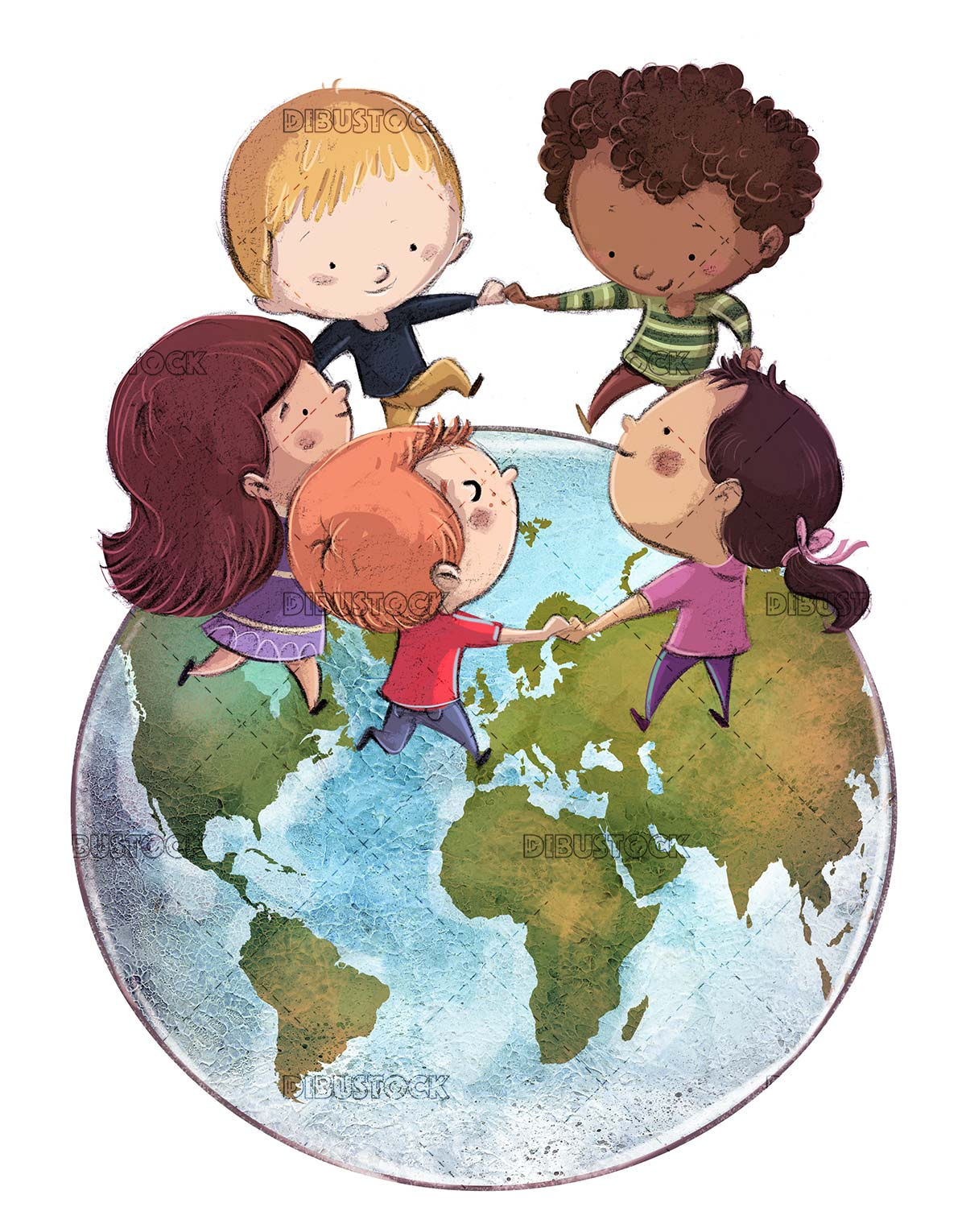 children playing in choir on planet earth