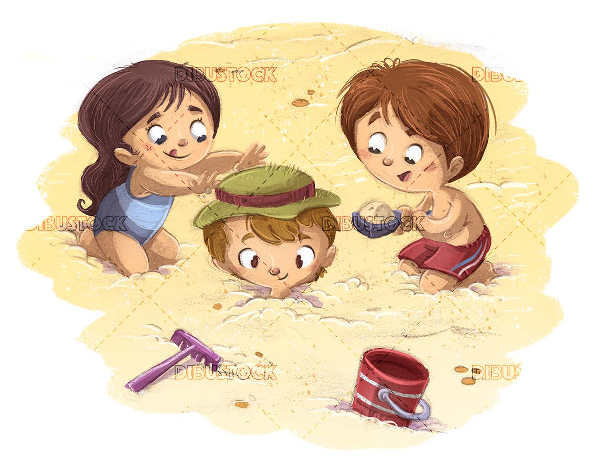 children playing to bury themselves in the sand of the beach