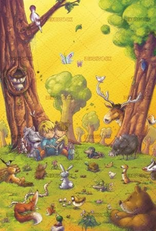 children reading a book in the forest surrounded by animals