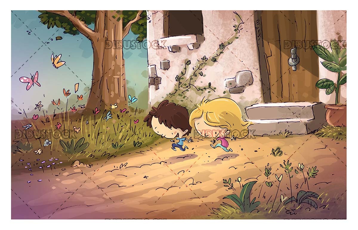 children running through a country house