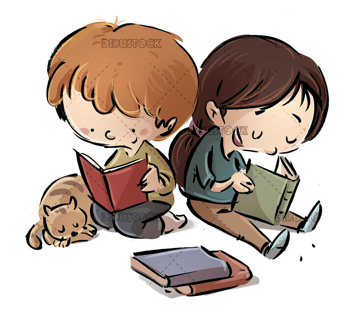 children sitting looking at a book with cat beside