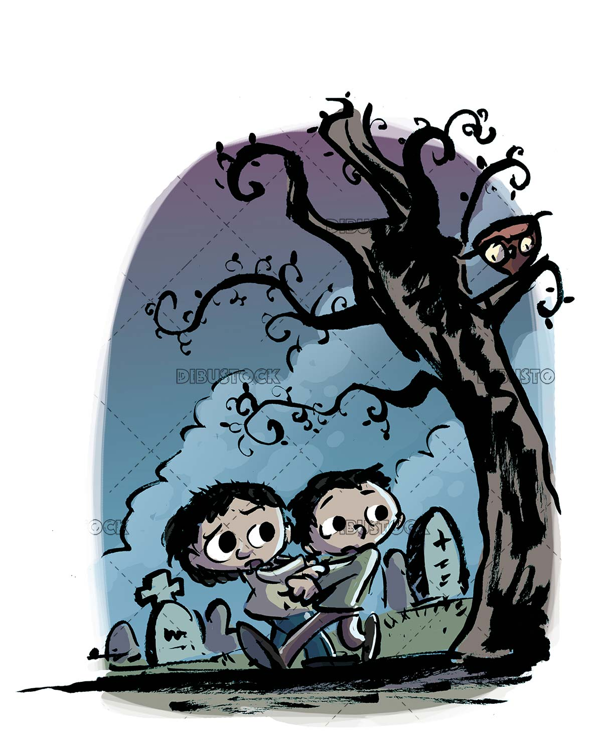 children with fear in the cemetery