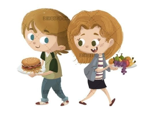children with food dishes