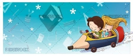 children with pencil in the form of car and background of school supplies