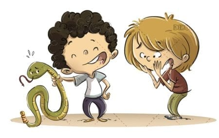 children with snake in hands