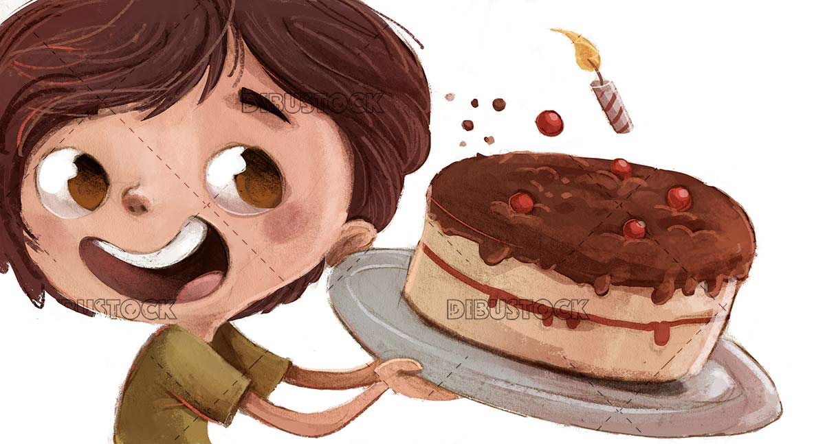 childs face with birthday cake in hands on isolated background