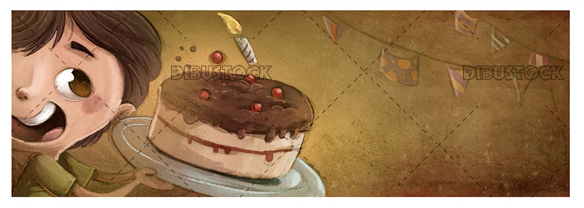 childs face with birthday cake on textured background