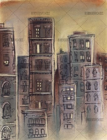 city illustration with buildings