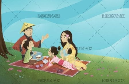 classic chinese picnic family