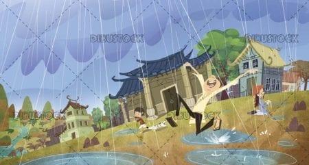 classic chinese village raining