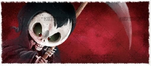 classic monster death skull with red background