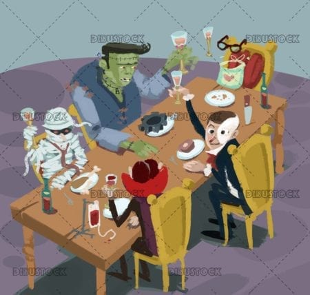 classic monsters at the celebration table
