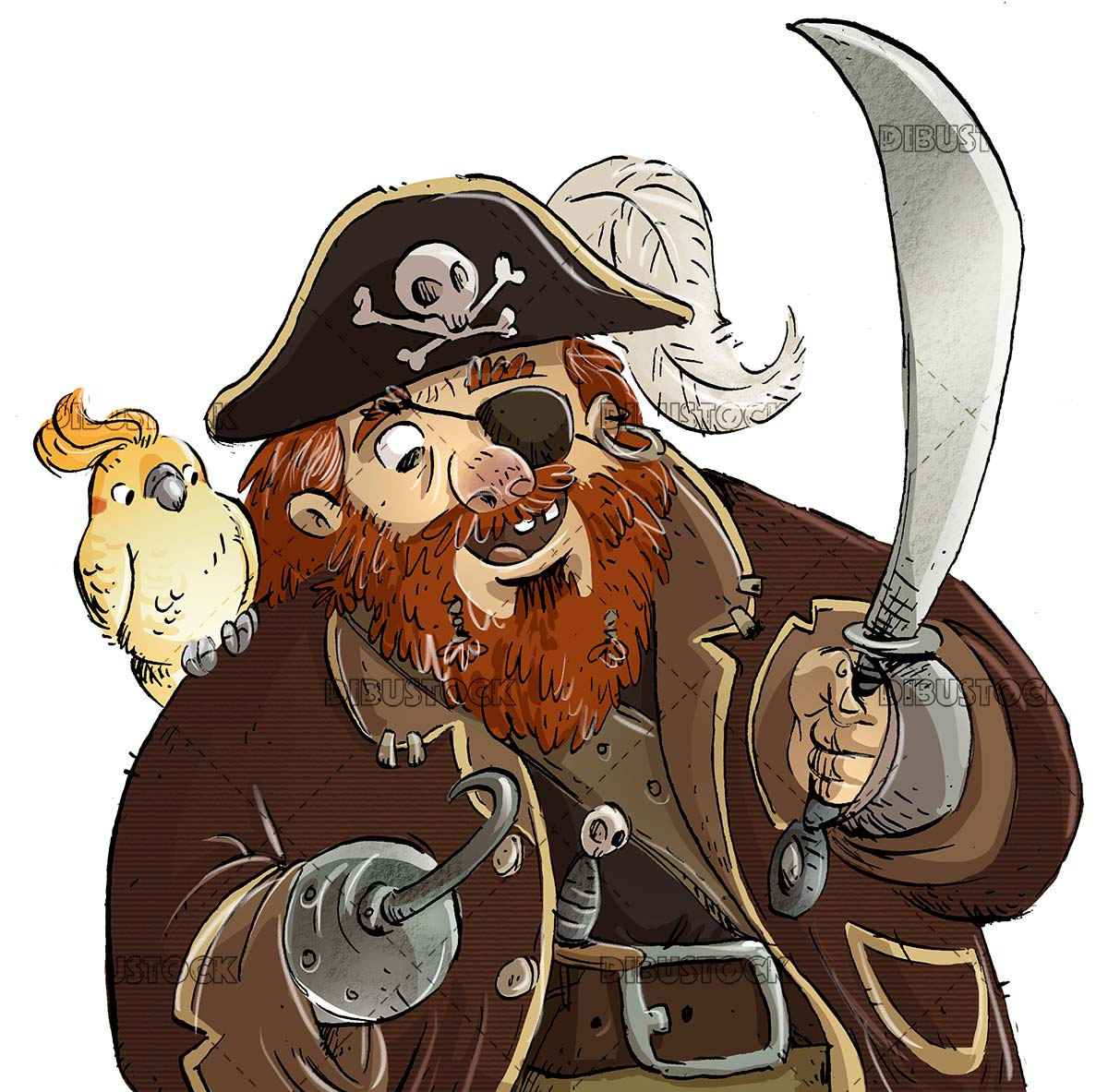 classic pirate with parrot on isolated background