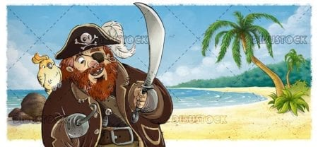 classic pirate with parrot with the beach in the background