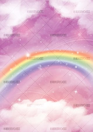 clouds background with rainbow