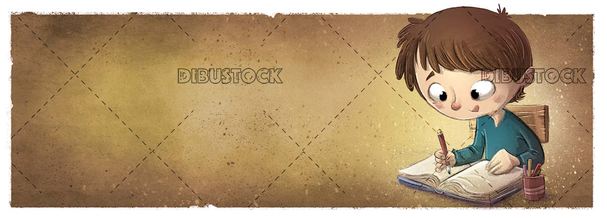 concentrated boy doing homework with texture background