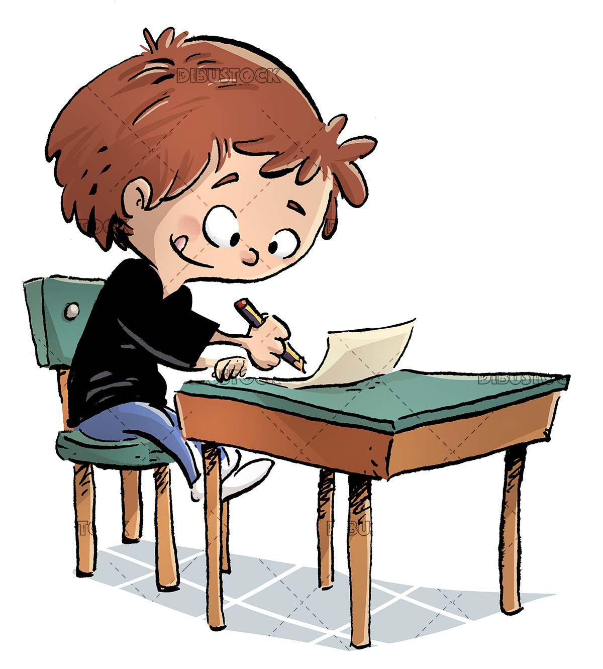 concentrated boy writing at his class desk