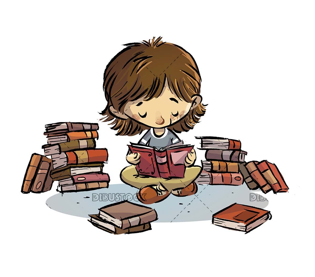 concentrated girl reading an open book on isolated background