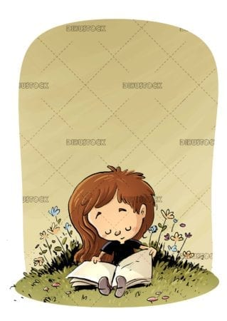 concentrated girl reading in the field with texture background