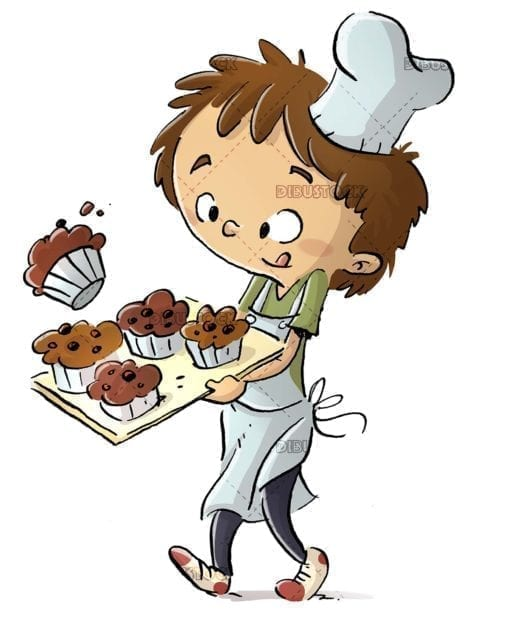 cook boy carrying a tray of muffins on isolated background