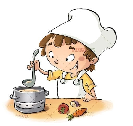 cook boy preparing a soup with his pot