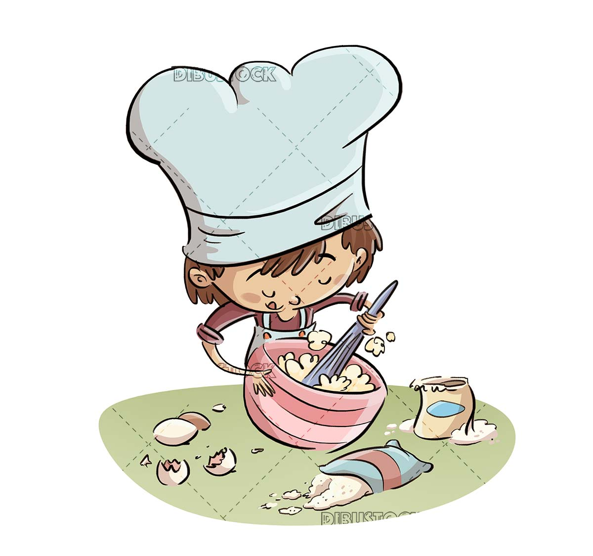 cook boy whisking cooking ingredients in a bowl