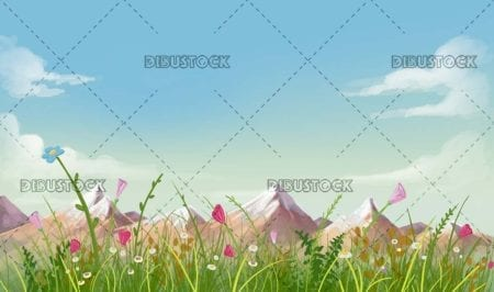 countryside landscape with flowers and mountains in the background