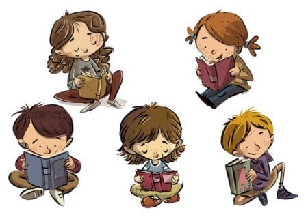 different poses of children reading books with isolated background 3