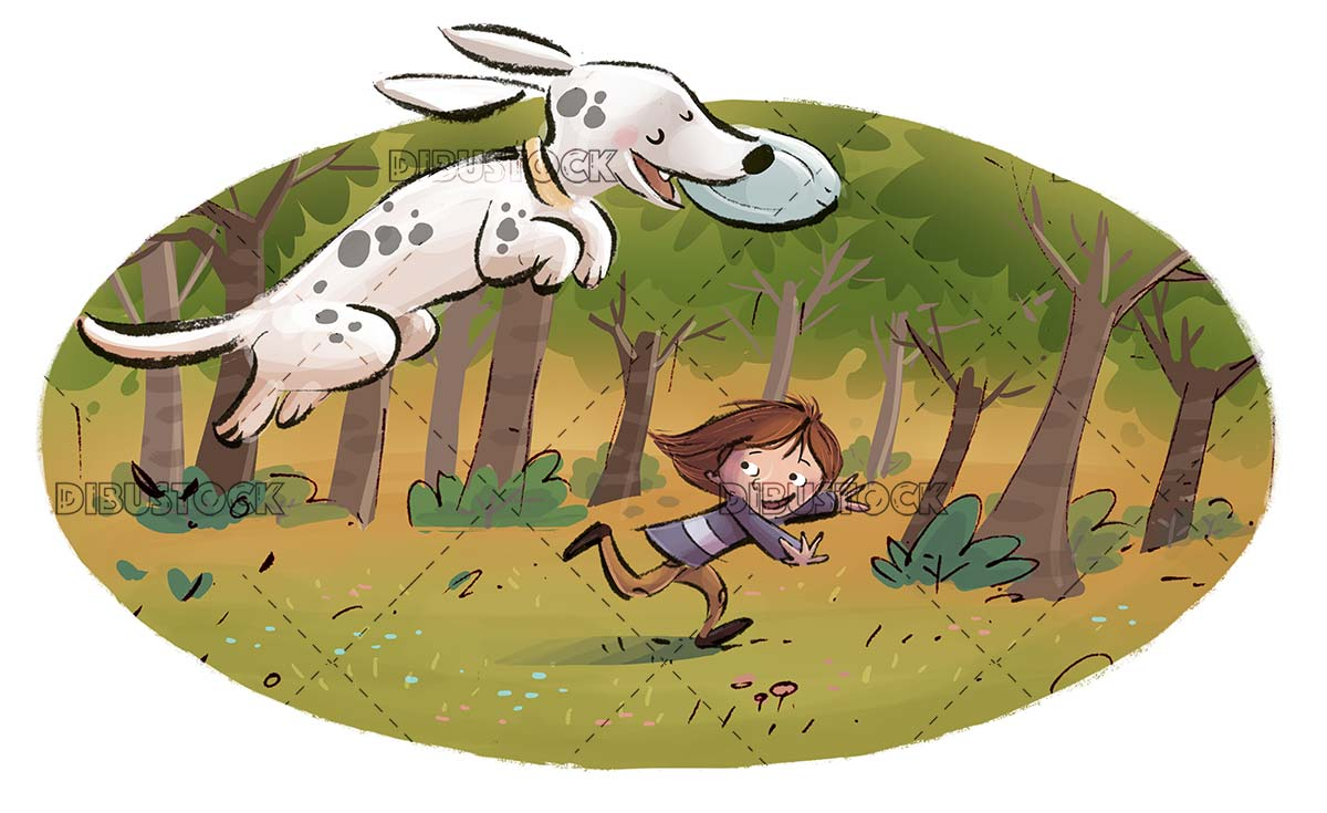 dog and boy playing with frisbee in the field