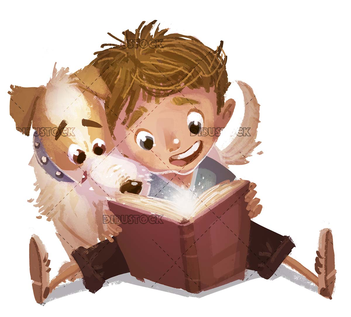 dog and boy reading a book very excited on isolated background