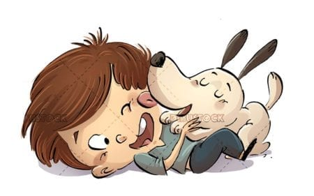 dog licking its owner child