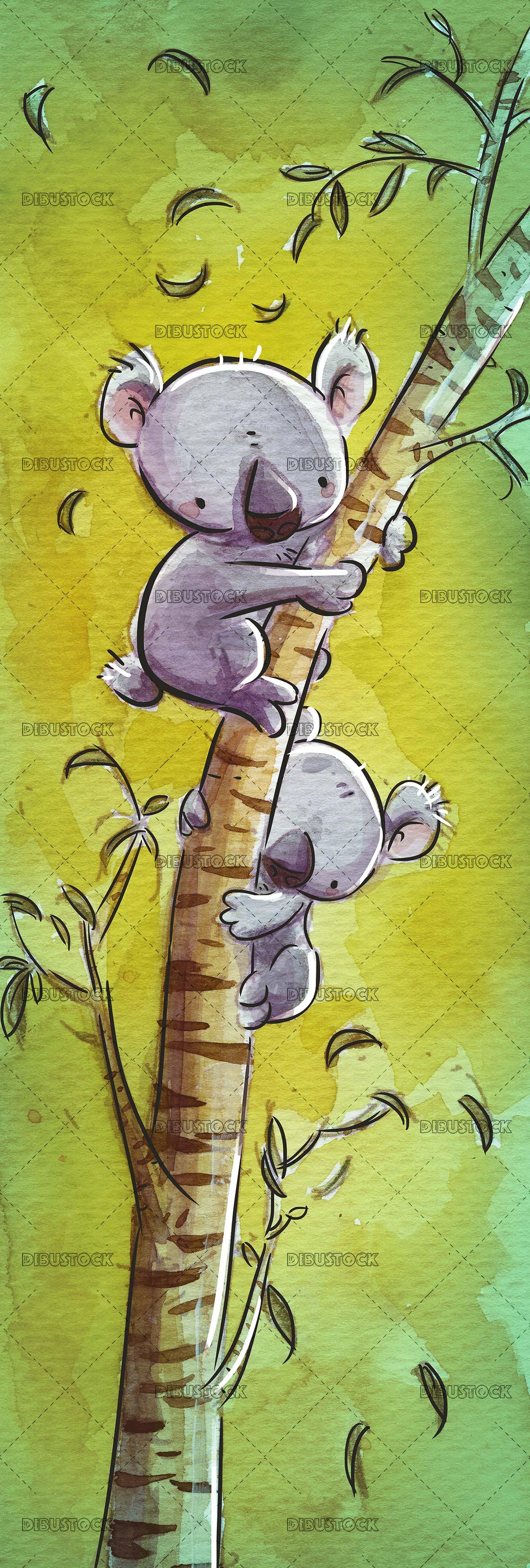 dos koalas subidos a un árbol con fondo verde