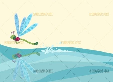 dragonfly flying over the water