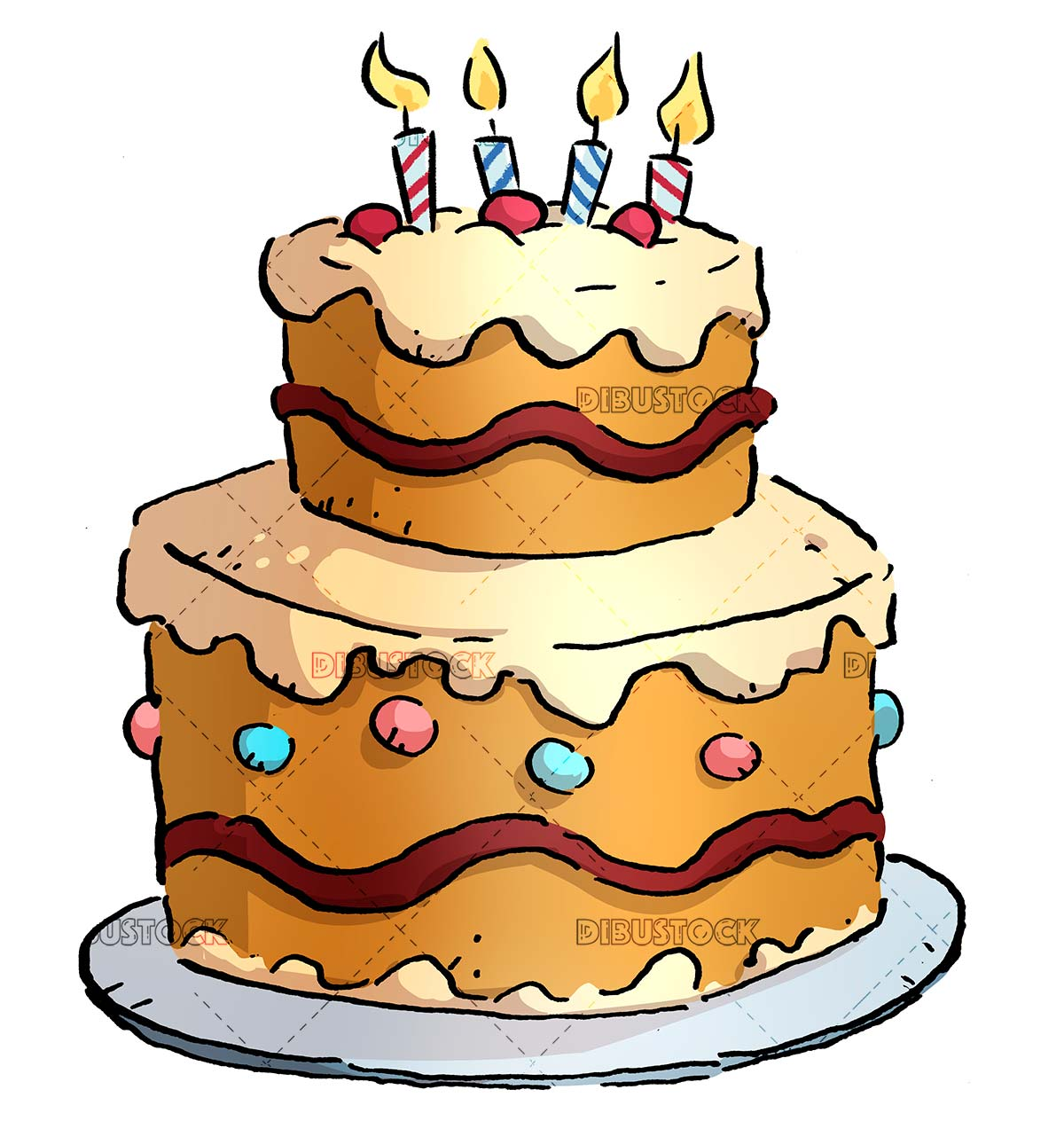 drawing of cake with burning candles